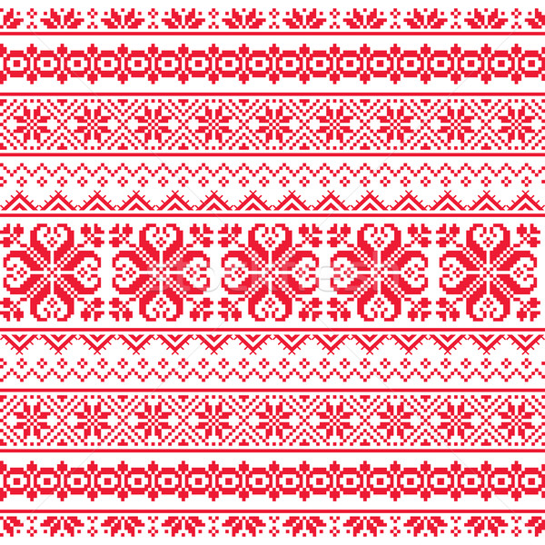 Ukrainian, Belarusian red embroidery seamless pattern - Vyshyvanka  Stock photo © RedKoala