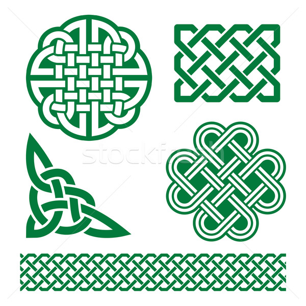 Celtic green knots, braids and patterns - St Patrick's Day in Ireland Stock photo © RedKoala