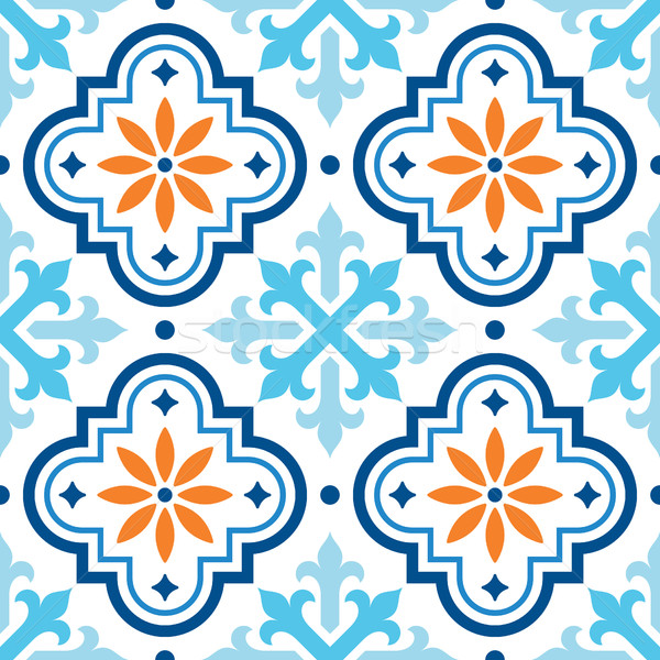 Spanish tile pattern, Moroccan tiles design, seamless blue and orange background Stock photo © RedKoala
