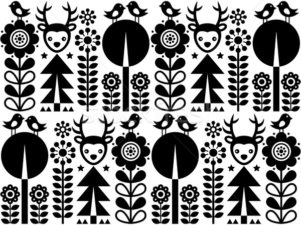 Scandinavian folk art pattern with flowers and animals, Finnish inspired design in black and white Stock photo © RedKoala