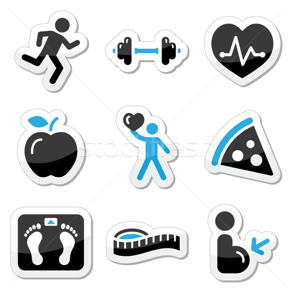 Stock photo: Health and fitness icons set