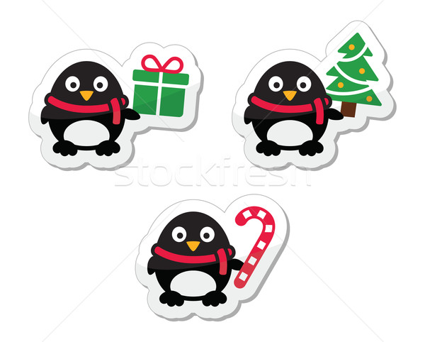 Christmas icons with penguins Stock photo © RedKoala