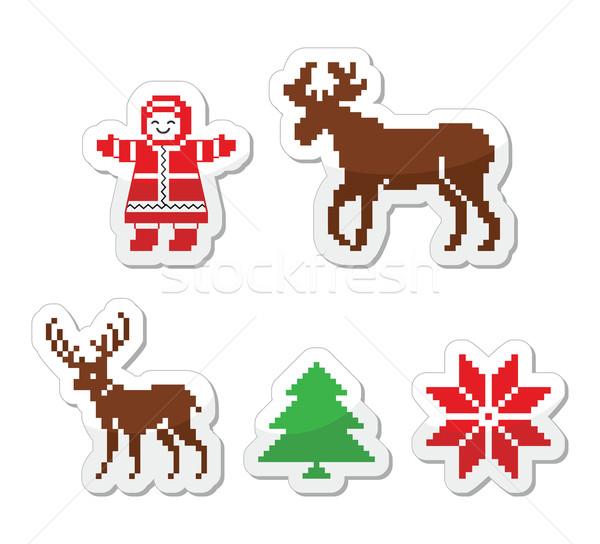 Christmas winter pixelated vector icons set  Stock photo © RedKoala