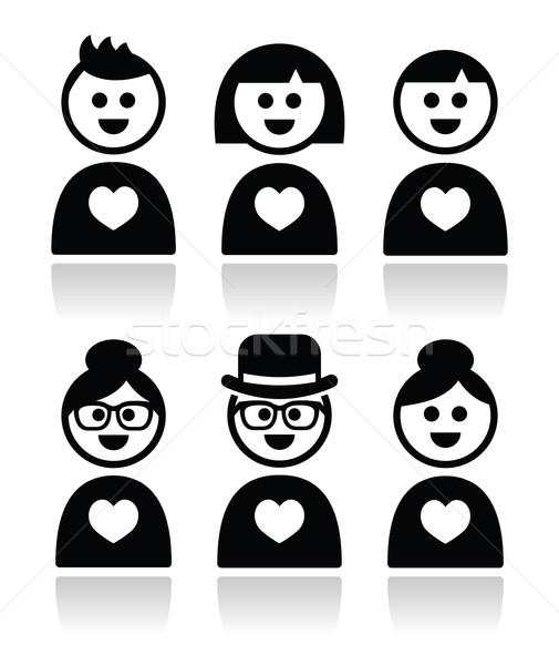 Poeple in love, valentine's day icons set Stock photo © RedKoala