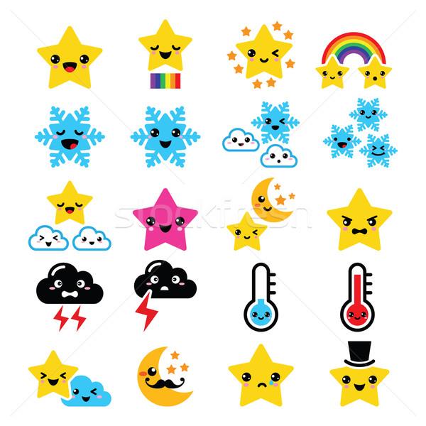 Cute погода kawaii иконки звездой радуга Сток-фото © RedKoala