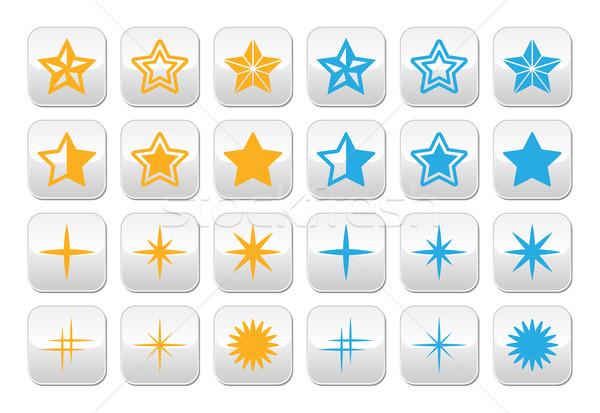 Stars yellow and blue stars buttons set  Stock photo © RedKoala
