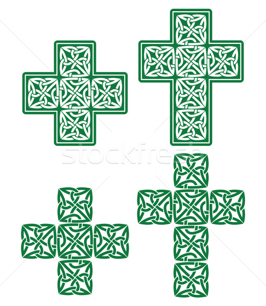 Stock photo: Celtic cross - set of traditional green designs from Ireland