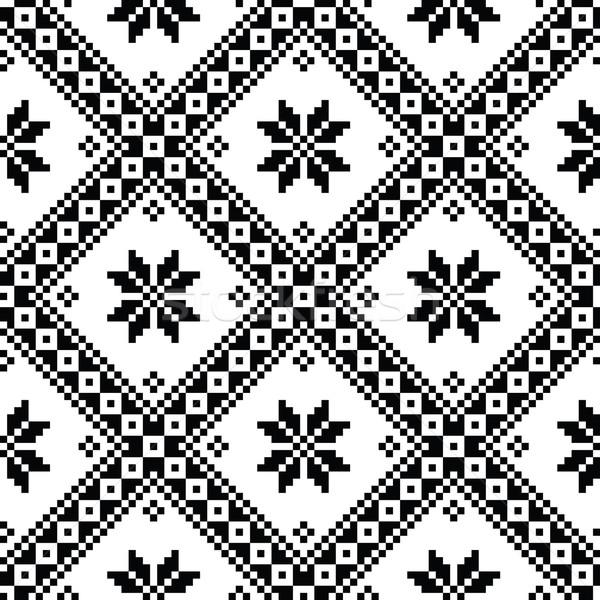 Seamless Ukrainian or Belarusian folk art embroidery black pattern  Stock photo © RedKoala