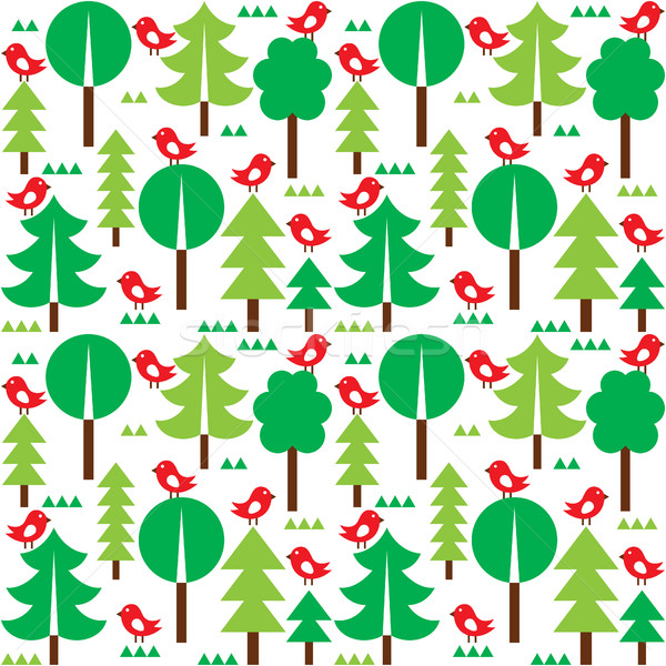 Finnish inspired seamless folk art pattern - Scandinavian, Nordic style   Stock photo © RedKoala