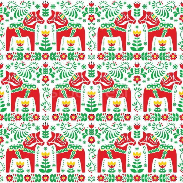 Seamless Scandinavian folk art pattern, Swedish Dala or Daleclarian horse floral design Stock photo © RedKoala