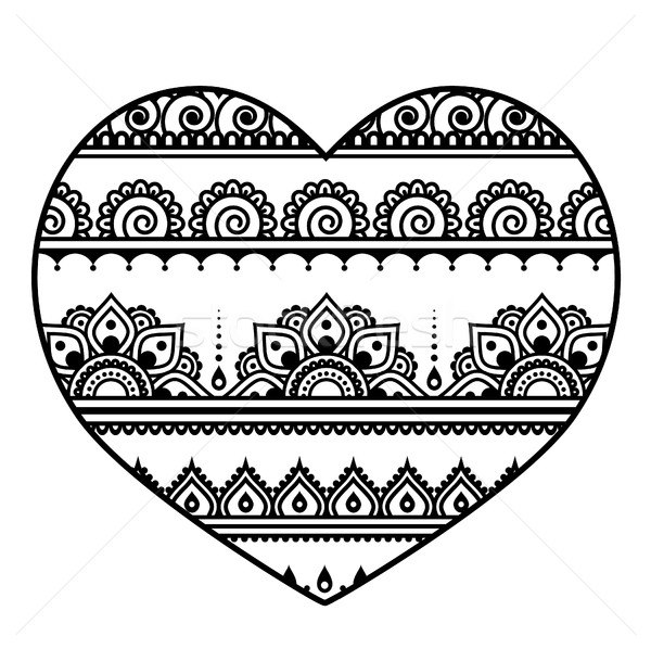Valentine's Day heart - Mehndi, Indian Henna tattoo pattern Stock photo © RedKoala