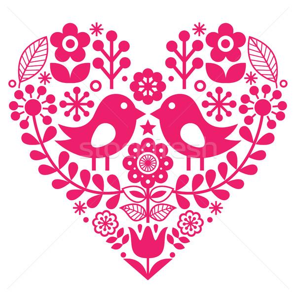 Scandinavian folk pattern with birds and flowers - pink design, Finnish inspired - Valentine's Day o Stock photo © RedKoala