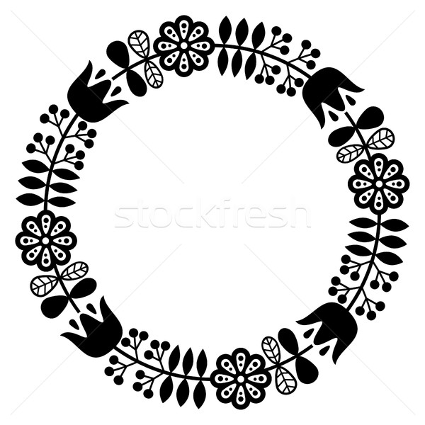 Finnish inspired round folk art pattern - black design, Nordic, Scandinavian style Stock photo © RedKoala