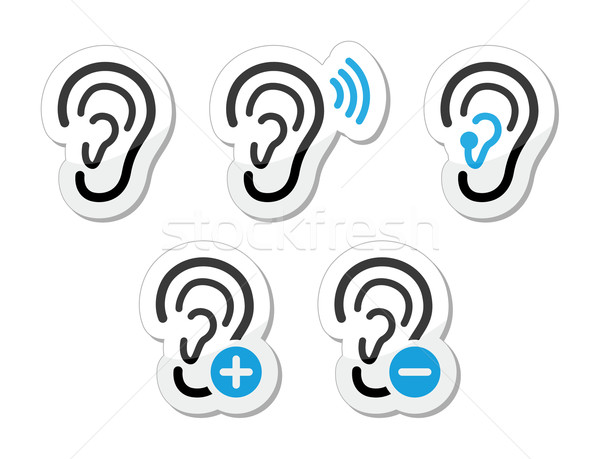 Ear hearing aid deaf problem icons set as labels Stock photo © RedKoala