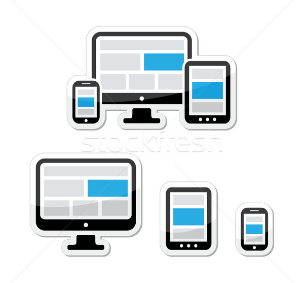 Stock photo: Responsive design for web - computer screen, smartphone, tablet labels set