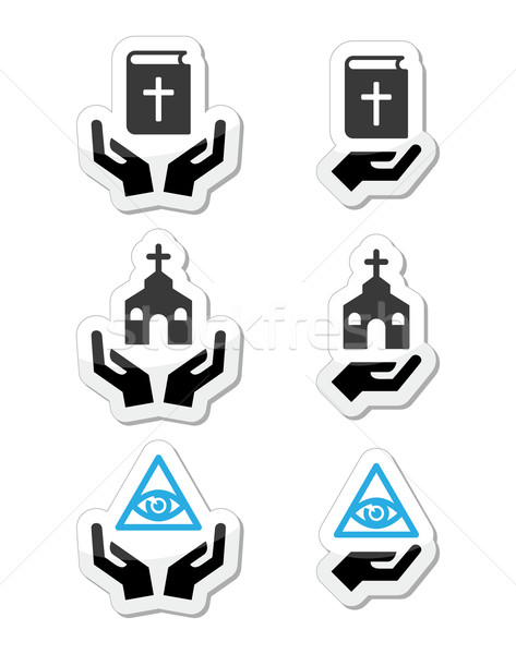 Stock photo: Religion icons - hands with bible, church, eye of god