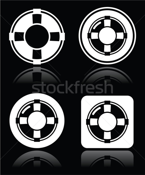 Life belt, help, S.O.S. vector white icons set on black Stock photo © RedKoala