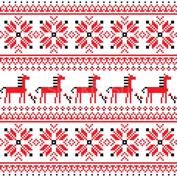 Ukrainian Slavic folk art embroidery pattern with horses Stock photo © RedKoala