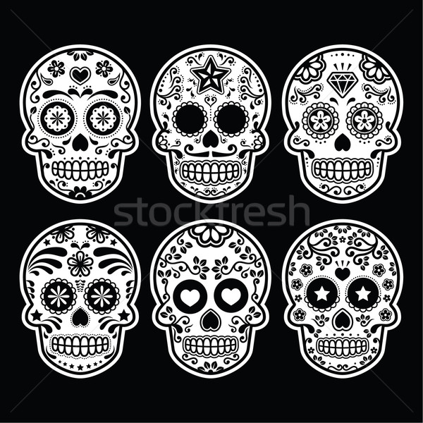 Mexican sugar skull, Dia de los Muertos icons set on black Stock photo © RedKoala