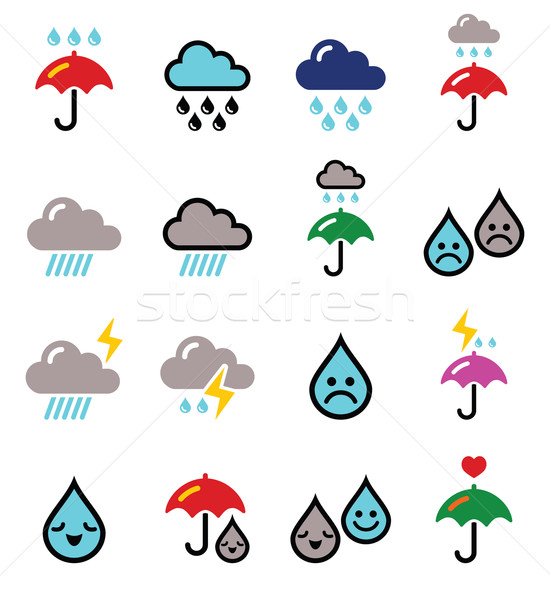 Rain, thunderstorm, heavy clouds  vector buttons set  Stock photo © RedKoala