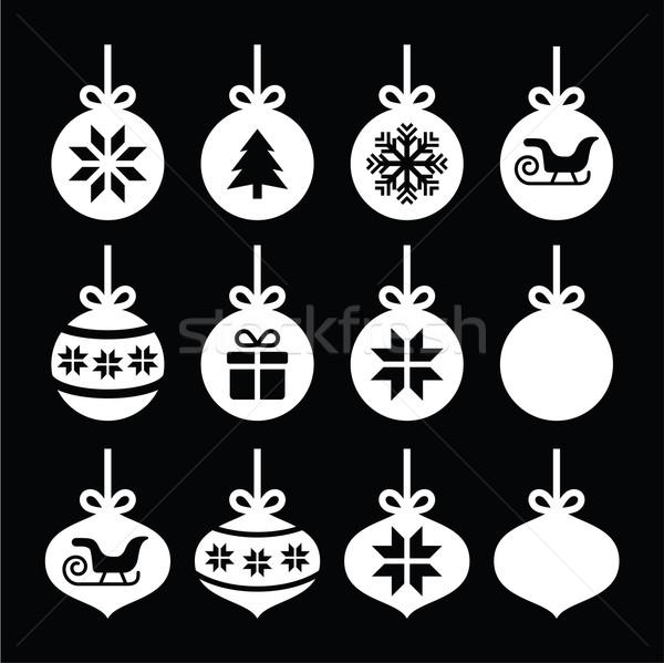Рождества мяча безделушка белый иконки черный Сток-фото © RedKoala