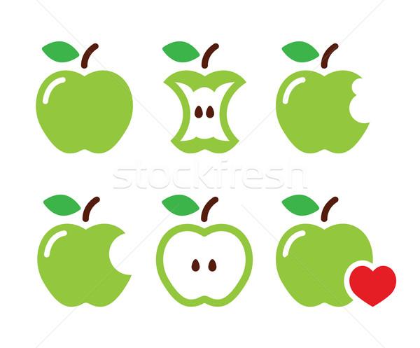 Stock photo: Green apple, apple core, bitten, half vector icons