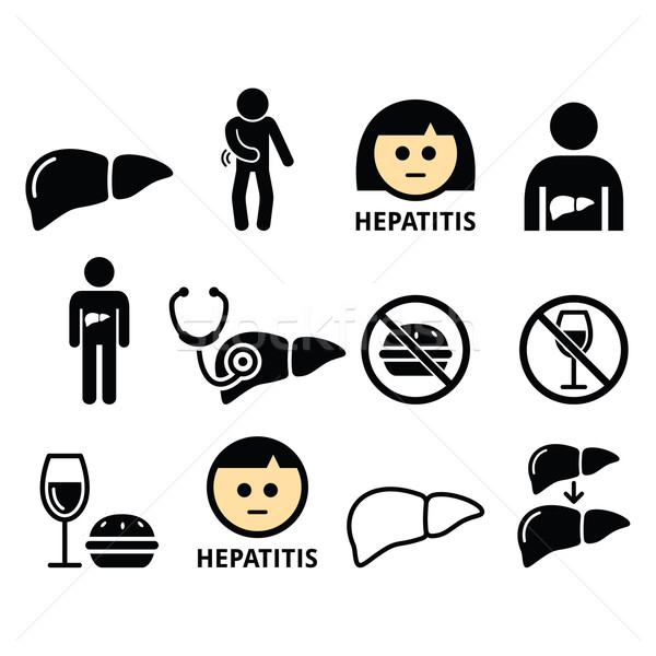 Liver disease, Hepatitis - health icons set  Stock photo © RedKoala