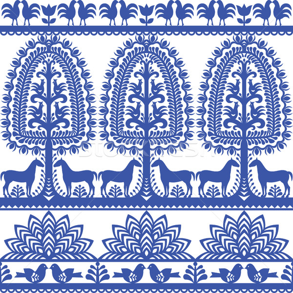 Seamless floral Polish folk art pattern Wycinanki Kurpiowskie - Kurpie Papercuts Stock photo © RedKoala