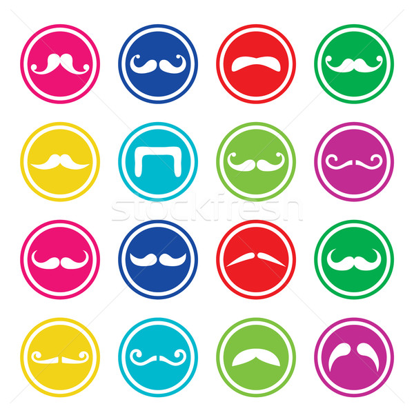 Stock photo: Moustache or mustache round colorful vector icons