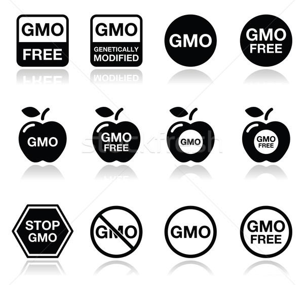 GMO food, no GMO or GMO free icons set Stock photo © RedKoala