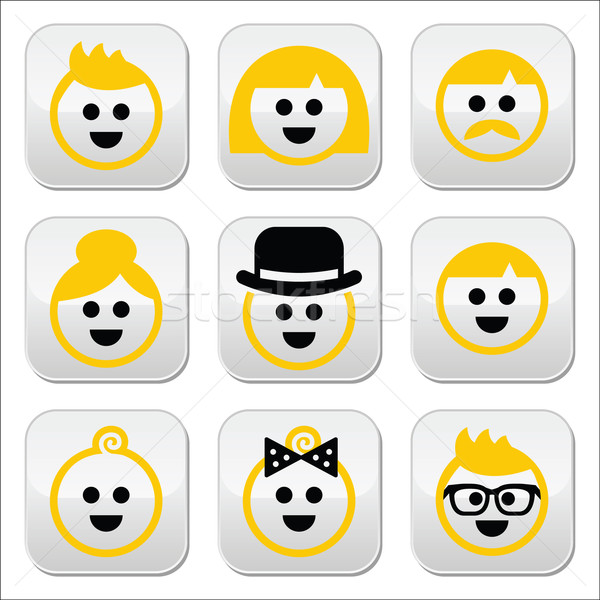 People with blond hair vector icons set  Stock photo © RedKoala
