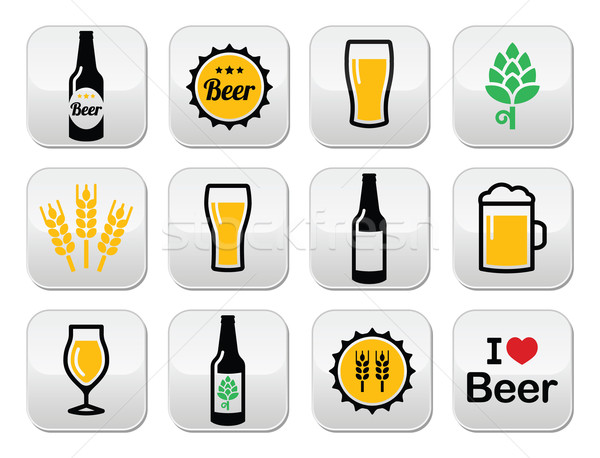 Foto stock: Cerveja · colorido · vetor · botões · conjunto · garrafa