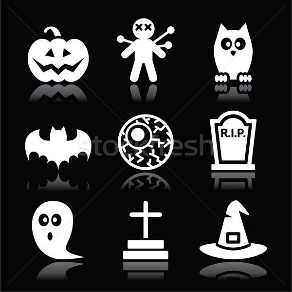 Halloween black icons set - pumpkin, witch, ghost on black Stock photo © RedKoala