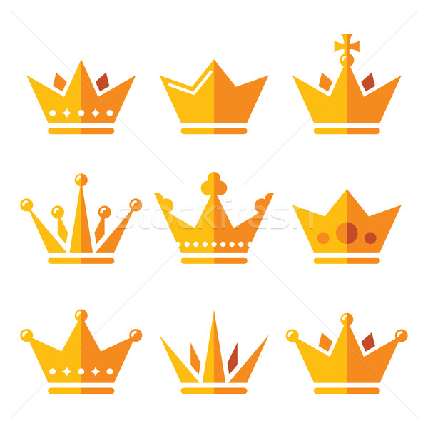 Stock photo: Gold crown, royal family icons set
