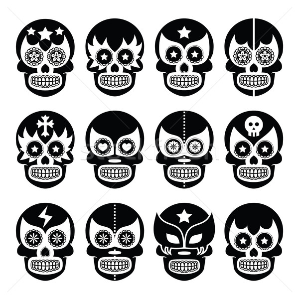 Lucha Libre - Mexican sugar skull masks black icons    Stock photo © RedKoala