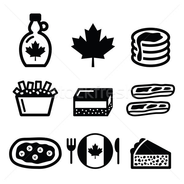 Canadian food icons - maple syrup, poutine, nanaimo bar, beaver tale, tourtière  Stock photo © RedKoala