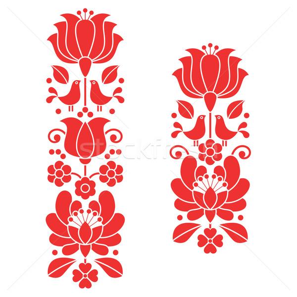 Foto stock: Vermelho · bordado · húngaro · floral · arte · longo