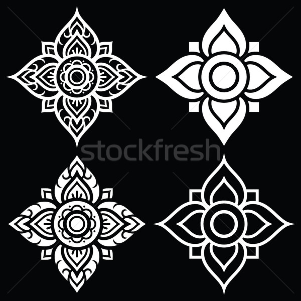 Thai white folk art pattern - flower shape   Stock photo © RedKoala