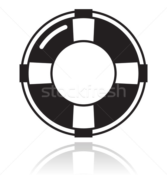 Help - life belt black icon Stock photo © RedKoala