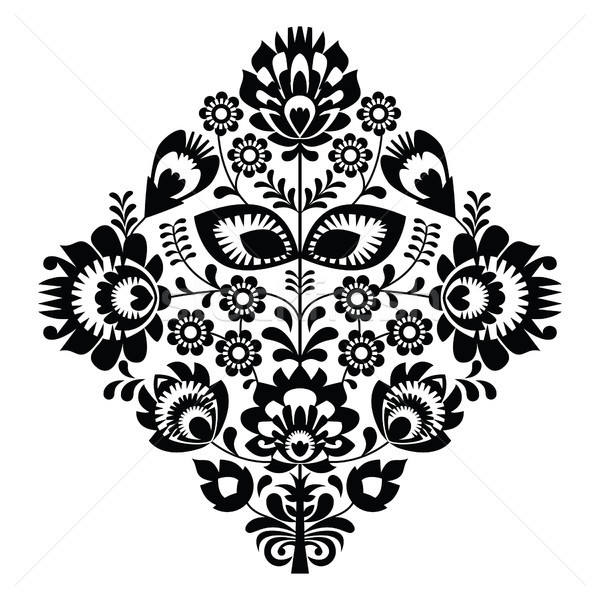 Folk embroidery with flowers - traditional polish pattern in monochrome Stock photo © RedKoala