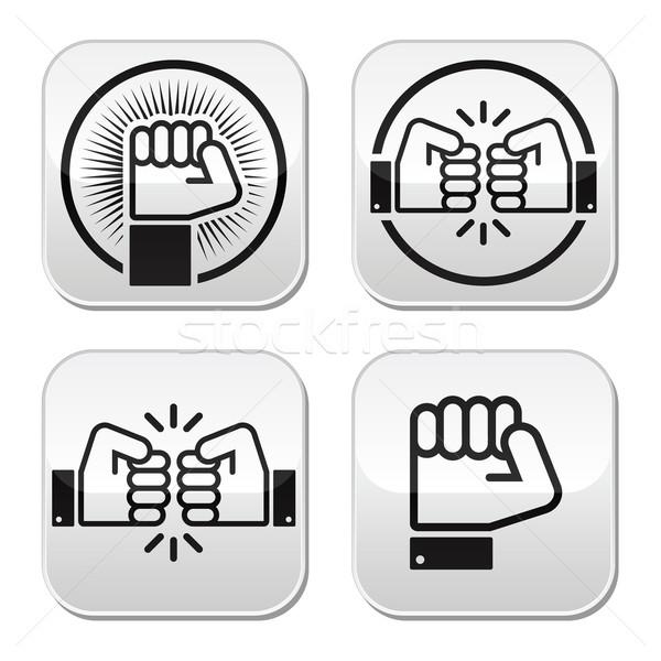 Fist, fist bump vector buttons set Stock photo © RedKoala