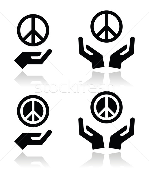 Peace sign with hands icons set Stock photo © RedKoala