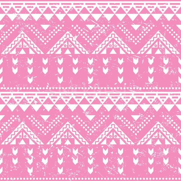 Tribal pattern, pink aztec print - old grunge style Stock photo © RedKoala