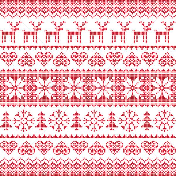Tél karácsony piros végtelenített pixeles minta Stock fotó © RedKoala