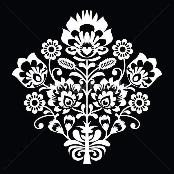 Traditional Polish folk art pattern on black - wzory lowickie, wycinanki  Stock photo © RedKoala