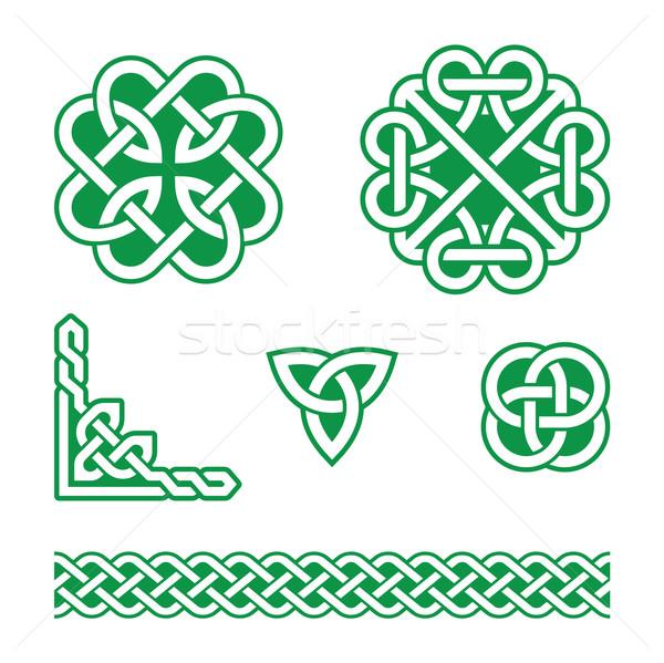 кельтской зеленый структур вектора набор традиционный Сток-фото © RedKoala