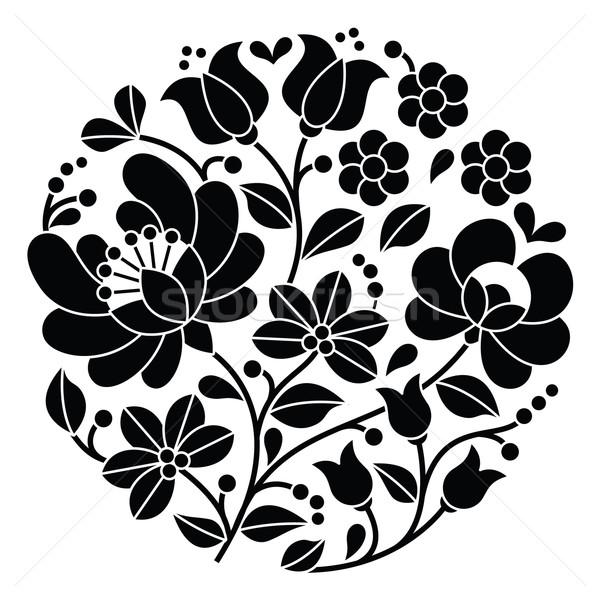Kalocsai black embroidery - Hungarian round floral folk pattern   Stock photo © RedKoala