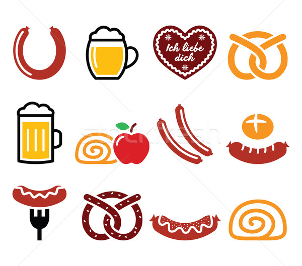 German, Octoberfest food - sausage, curry wurst, beer, pretzel, apple strudel Stock photo © RedKoala