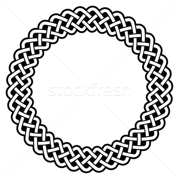 Stock photo: Celtic round frame, border pattern - vector