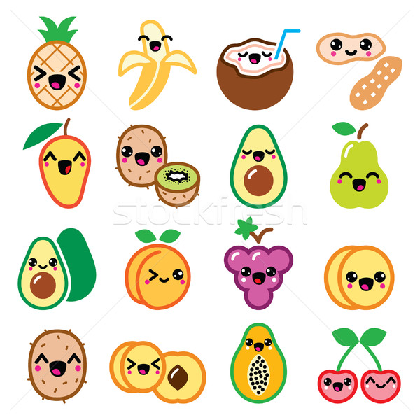 Kawaii fruit and nuts cute characters icons set Stock photo © RedKoala